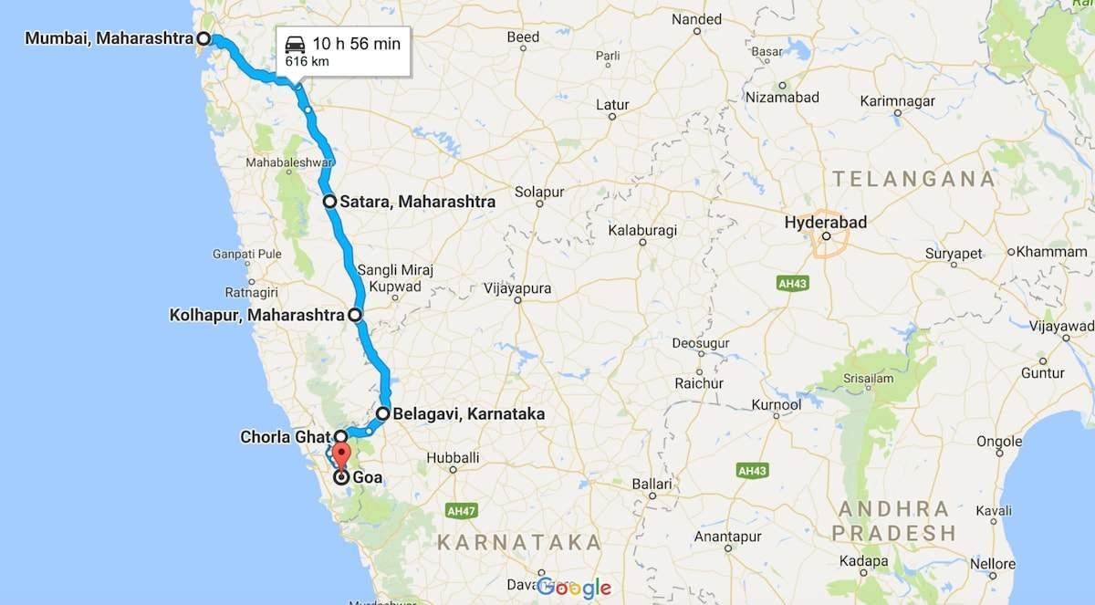 Mumbai Goa Road Map Mumbai Till Goa Fardplan Maharashtra Indien